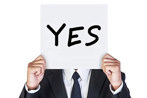 "Sign reading ""yes"""