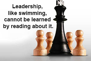 Image comparing leadership to swimming